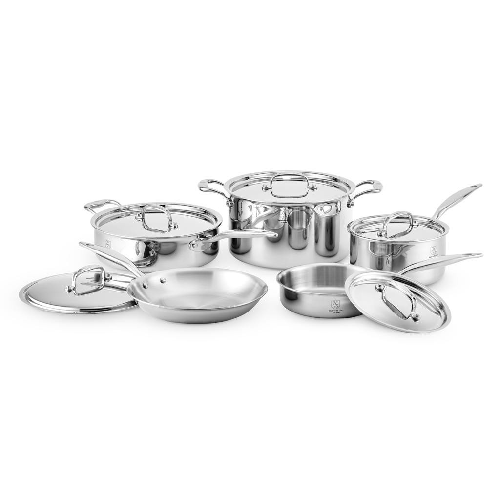 Heritage Steel 10 Piece Core Set, 7-Ply Stainless Steel Cookware with 316Ti Surface, Made in USA