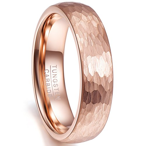 - Nuncad Tungsten Wedding Band Brushed Finish Comfort Fit Rose Gold Plated Engagement Ring Promise Ring Size 9