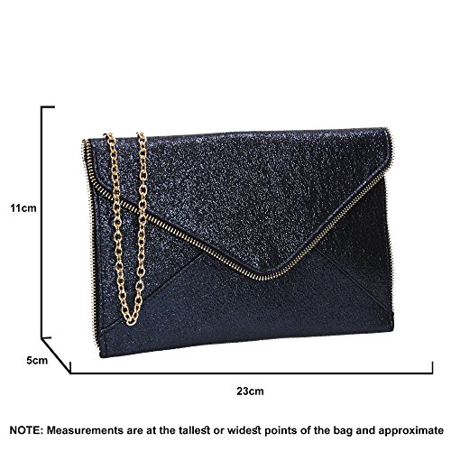Slim Lola SWANKYSWANS Party Navy Blue Clutch Womens Line Envelope Glitter Bag OEOc6qwad