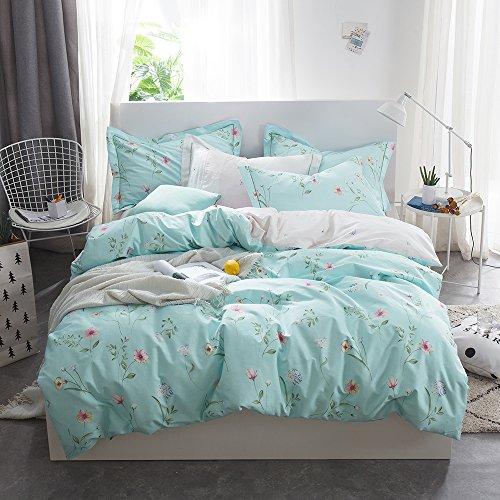 OTOB Floral Bedding Duvet Cover Queen Set for Teen Kids Girl Flower Print Bedding Sets Full Size Cotton 100 Blue, Reversible Lightweight Soft by OTOB (Image #2)