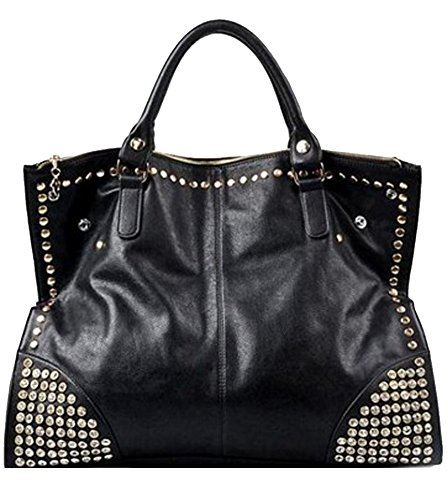 Bandoulière Femme Dames À Big noir Sac Bag Main Sac Rivets Sac À Keral 68F0nRqxx