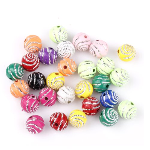 ILOVEDIY 200pcs in Bulk Mixed Color Round Acrylic Beads Accessories 10mm for Jewelry Making by ILOVEDIY