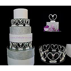 Forbes Favors ™ Heart Of A Swan Acrylic Crystal Cake Stand With LED Light for Wedding, Baby Shower, Reveal Party, Anniversary, Birthday