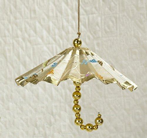 Kurt Adler Asian Fusion Ivory & Gold Floral Parasol Umbrella Christmas Ornament (Umbrella Christmas Ornament)