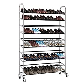 Rolling Shoe Rack, MaidMAX 10-Tier Free Standing 50 Pairs Shoe Tower Storage Organizer with Sturdy Wheels