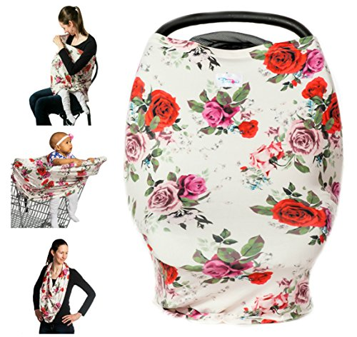 5-in-1 Premium Quality Stretchy Baby Car Seat Cover, Canopy, Nursing and Breastfeeding Cover, Kutest N' Precious, Infinity Scarf, Shopping Cart, Multi Use Cover Pink Flamingo