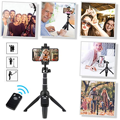 Eocean 40-inch Selfie Stick Tripod, Extendable Selfie Stick Tripod Stand with Wireless Remote, Compatible with iPhone Xs/Xr/Xs Max/X/8/8 Plus/Samsung Galaxy Note 9/S9/Huawei/Honor/Google and More