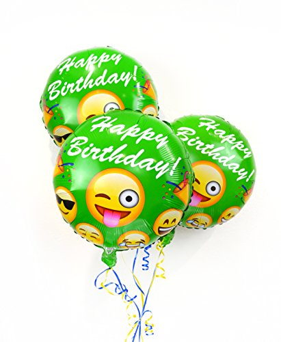 Emoji Balloons: Happy Birthday: Green Foil Helium Balloons - Face On Your Check Sunglasses