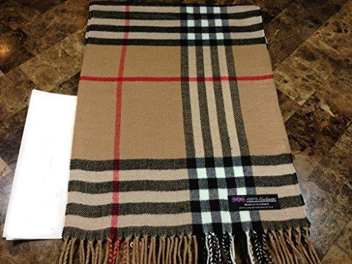 100% CASHMERE Warm Wool Scarf Camel Black SCOTLAND B73 Men Women Infinity Loop