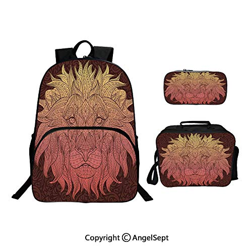 Backpack With Lunch Bag Pencil Bag Three-piece,Patterned Ornate Lion Head with Digital Featuring Totem Asian Zoo Wild Boho Home Decor Yellow Maroon,For Girls Water Resistant Colorful Christmas - Patterned Aluminum Square Umbrella