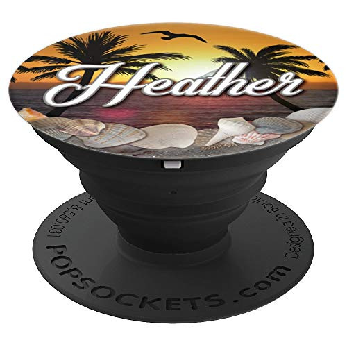 Heather Monogram Ocean Beach Sunset Sea Shells Name Heather - PopSockets Grip and Stand for Phones and Tablets ()