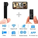 Spy Camera WiFi Mini Hidden Camera 1080P HD Portable Wireless Camcorder Video Recorder IP Cameras with Dual Detachable Lens/Motion Detection Nanny Cam for Indoor Outdoor Home Security Monitoring