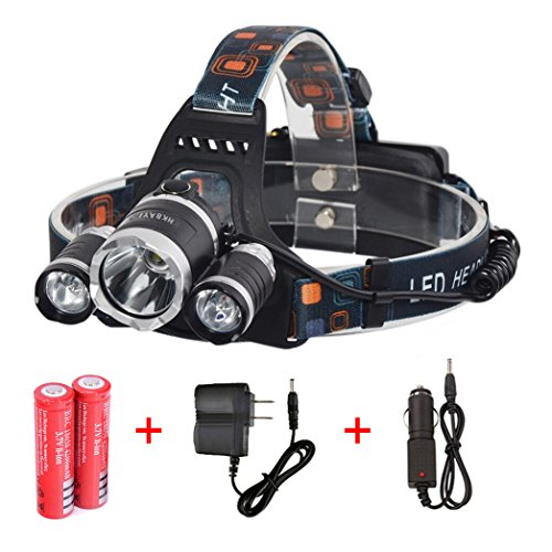 HKBAYI New T6 3LED 5000Lm Rechargeable Headlamp Headlight Head lamp + AC Charger+car charger + 2 x 18650 rechargeable batteries