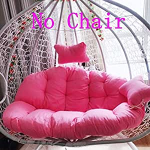 YEARLY Egg Nest Shaped Cushions, Basket Cushion Wicker Rattan Swing Pads Hanging Hammock 2 Persons Seater Zipper Washable no Chairs-Pink ...