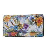 Mundi File Master Womens RFID Blocking Wallet Clutch Organizer With Change Pocket (Floral)