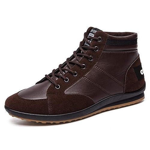 Hombres Zapatos Casuales Mocasines De Cuero para Hombre Transpirable High Top Snekaers Hombres Entrenadores OtoñO Zapatos Deportivos: Amazon.es: Zapatos y ...