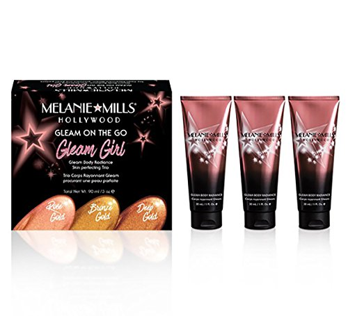 Natural Bronze Mill - Melanie Mills Hollywood Moisturizing Body Makeup Gleam on the Go Kit - Rose Gold, Bronze Gold, Deep Gold, 1 fl.oz. each