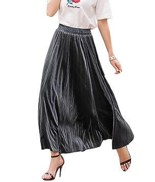 Runyue Faldas Mujer Faldas Largas Plisadas Cintura Alta Elegantes ...