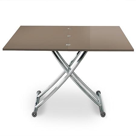 Superbe Menzzo B2219S Contemporain Carrera Table Basse Relevable Bois/Inox Laqué  Taupe 57/100 X 100/114,2 X 39/76,3 Cm: Amazon.co.uk: Kitchen U0026 Home