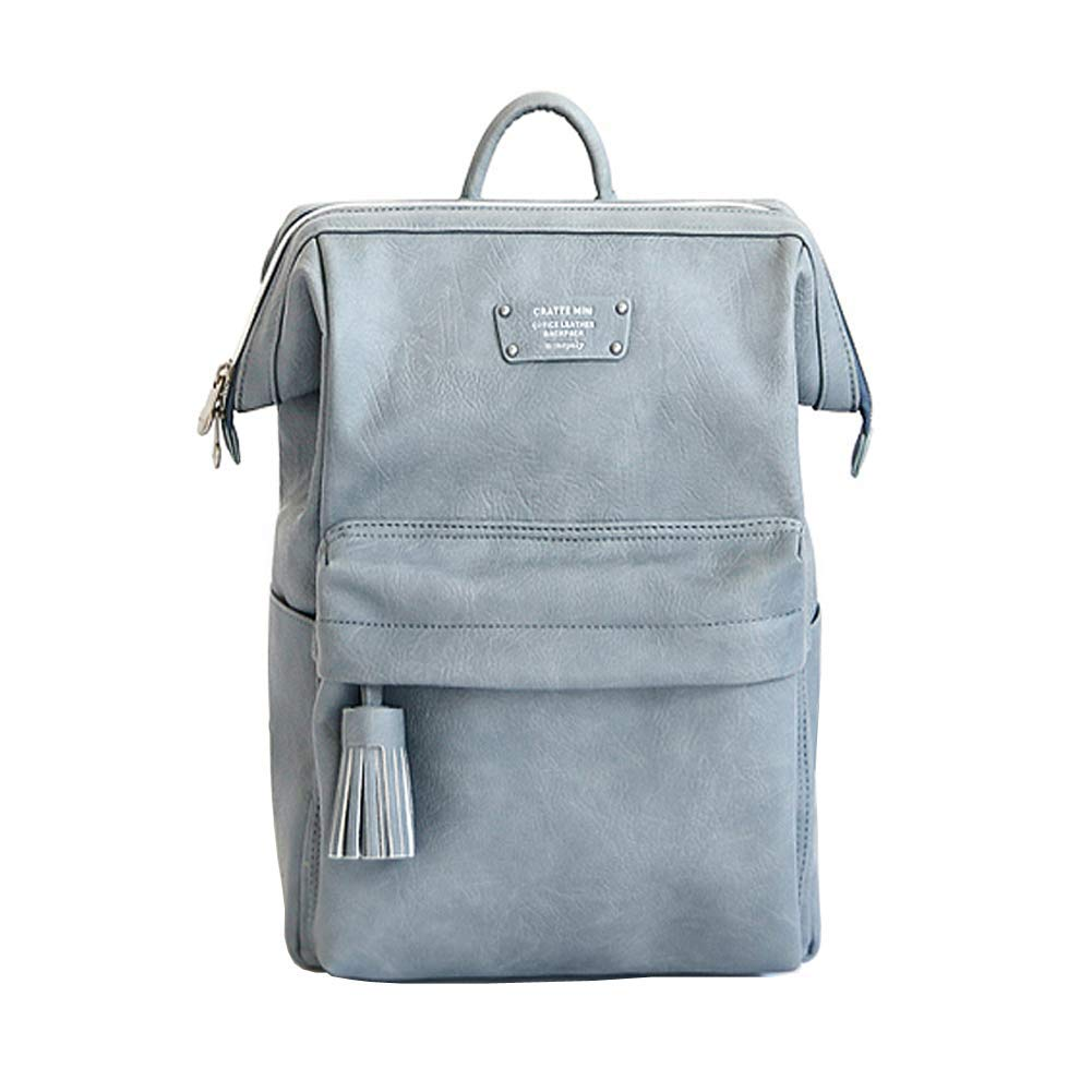 Office Leather Business Casual Daypacks Modern Lovely Design Waterproof Travel Backpack (Stone Blue) [並行輸入品] B07R3YVKSF