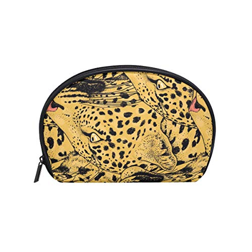 Makeup Cosmetic Bag Abstract Animal Leopard Face Pattern with -