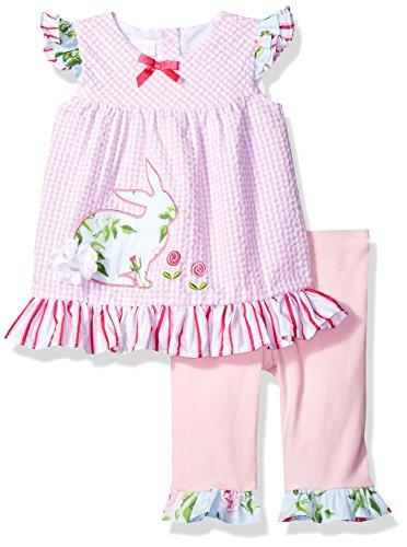 Bonnie Baby Baby Girls' Bunny Appliqued Seersucker Playwear Set, Pink, 18 m