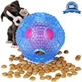 Interactive Dog Toys - Healthy Feeding, IQ Treat Ball Food Dispensing for Small Medium Dogs - Durable Nontoxic Rubber, Pattern Design Cleans Teeth