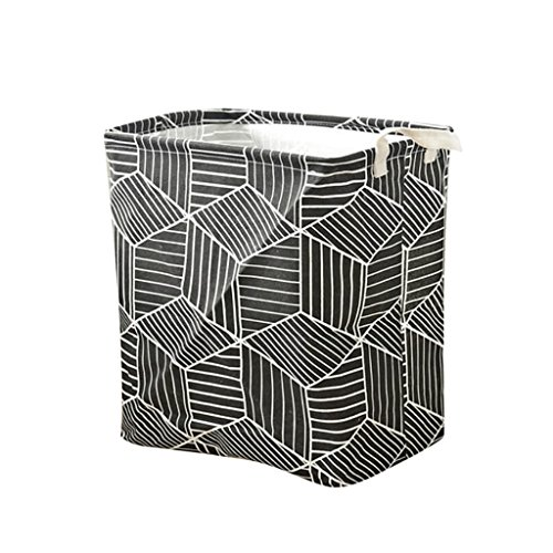 Fityle New Household Cotton Linen Laundry Container Prismatic Cosmetic Boxes,for Home,Office,Bedroom,Toys - Black by Fityle
