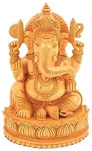 CraftVatika madera Ganesha Estatua–Tallado A Mano sentado en Mouse- señor ganesha madera Escultura Elefante hindú deidad dios figura decorativa