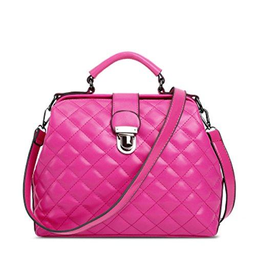 Bolsa De Cuero De Moda Ling Grid Paquete Bolsa De Bolso Messenger Bag Red