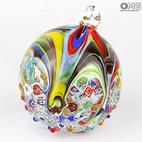 - Original Murano Glass OMG Christmas Ball - Silver Leaf and millefiori - Murano Glass Xmas