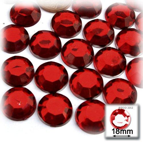 The Crafts Outlet 144-Piece Flatback Round Rhinestones, 18mm, Devil Red Wine (Red Rhinestones)