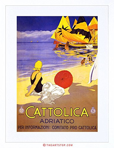 - The Art Stop Travel CATTOLICA Adriatic SEA Beach Boat Sun Italy Vintage Framed Print F97X7018