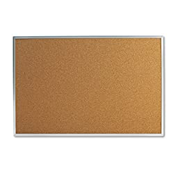 Universal 43613 Bulletin Board, Natural Cork, 36 x 24, Satin-Finished Aluminum Frame