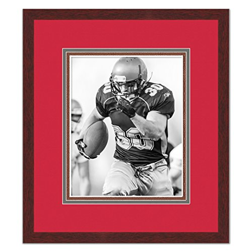 Tampa Bay Bucs Brown Wood Frame for a 8x10 Photo with a Triple Mat - Buccaneer Red, Pewter, and Football Textured Mats