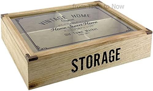 Vintage Home 4 Compartimiento de madera cubiertos caja de ...