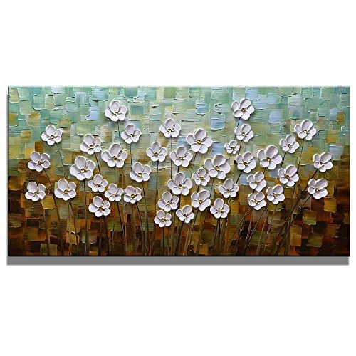 Asdam Art 100% Hand Painted 3D Paintings On Canvas Ready to Hang White Daisy Flower Oil Paintings Abstract Landscape Artwork Wall Art for Living Room Bedroom (24X48 inch) by Asdam Art