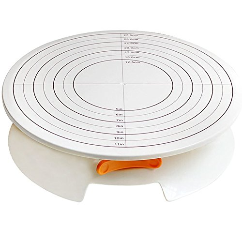 A.B Crew Turntable 12 Inch Cream Decorating Cake 360 Degree Lockable Round Display Revolving Rotating Swivel Plate Stand Platform DIY Cakes Tools