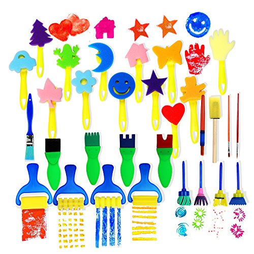 (Early Learning Sponge Painting Brushes and Tools 30 PCS Arts Crafts Brushes Set Flower Drawing Doodle Toys for Kids)