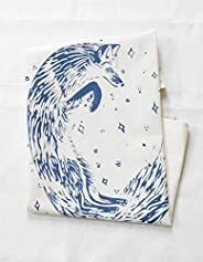 Organic Tea Towel - Fox Design in Blue-violet - Flour Sack Cotton