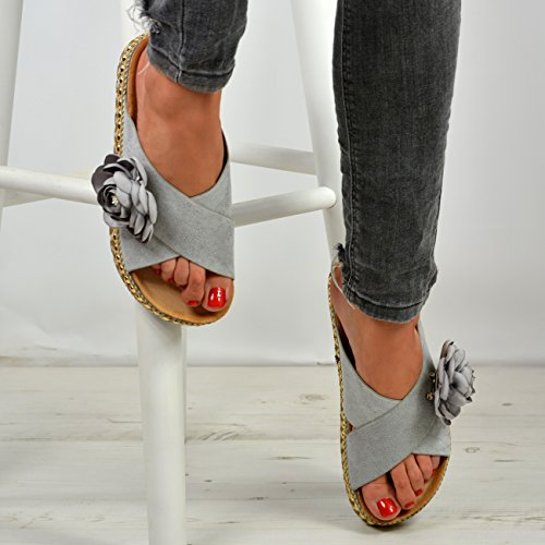 Ladies Cucu New Fashion Platforms Womens Espadrille Grey Flatforms Flower Shoes Studded Sandals BBxTRw4H