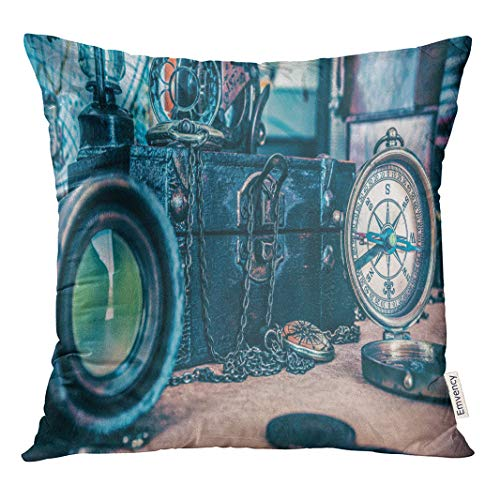 Semtomn Throw Pillow Cove Old Collection of Compass Telescope and Marine Adventure Rare Decor Square 16x16 Inches ()