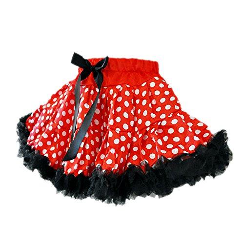 [Miki Polka Dots Red/White 2 Layers Tutu 2 w/Black Ruffle Trim (Medium)] (Dance Dress Costumes Studio)