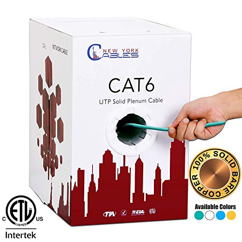 (CAT6 Plenum (CMP) 1000ft Bulk Ethernet Cable | Certified 100% Pure Solid Bare Copper | ETL Listed | FLUKE Tested | 550MHz, 23AWG, UTP - Green)