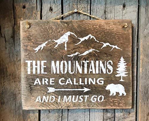 dise/ño r/ústico con Texto en ingl/és The Mountains Are Calling and I Must Go Barn Placa de Madera para Colgar en la Pared The Mountains Are Calling and I Must Go