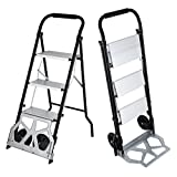 VEVOR Step Ladder Hand Truck 175LBS Aluminum Hand Truck 2 In 1 Folding Hand Truck Dolly With Two Wheels(175LBS)
