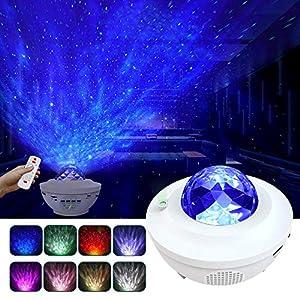 LBell Projecteur à LED avec télécommande Starry Etoile Mond/Effet vague d'eau et haut-parleur Bluetooth Idéal pour fête Noël Pâques Halloween (Blanc) 5