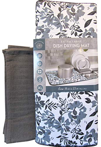 23 Matt - Microfiber XL Dish Drying Mats Damask Floral Colorful Kitchen Dish Pads 18x23 Reversible Sink Mat Stylish Home, Dorm, Apartment Essentials (Steel Grey Floral & Dish Cloths)