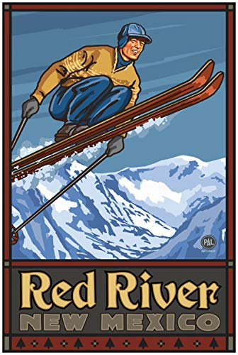 - Red River New Mexico Vintage Ski Jumper Travel Art Print Poster by Paul A. Lanquist (24