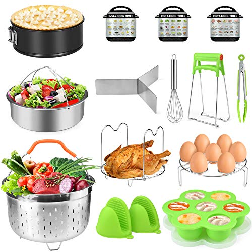 Accessories for Instant Pot 5,6,8 Qt,PECHAM Pressure Cooker Accessories Set Including 2 Steamer Baskets/Springform Pan/Stackable Egg Steamer Rack/Egg Bites Mold/Kitchen Tongs Etc,Best Gift Idea
